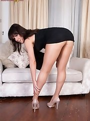 Tease babe Lucy Love in shiny nude pantyhose show!