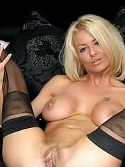 Tia Layne is a sexy blonde stocking slut who loves all kinds of pantyhose and stockings. From the north of England, Tia Layne has both stunning looks