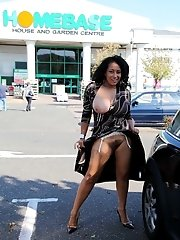 Danica in stockings flashing at the shopping mall