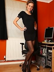 Stunning Samantha shows off her lovely legs as she plays in her pantyhose.